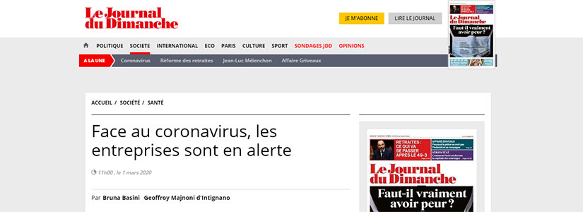 Le Journal Du Dimanche : coronavirus